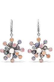 Bottega Veneta Oxidized silver, crystal and pearl earrings
