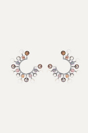 Bottega Veneta Oxidized silver-tone, crystal and pearl earrings