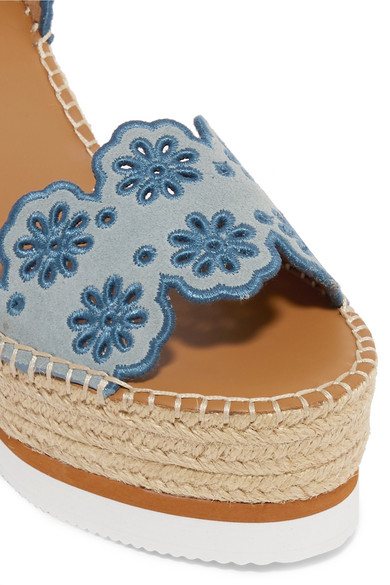 532e2eb7db3 See By Chloé | Embroidered suede and leather espadrille wedge ...