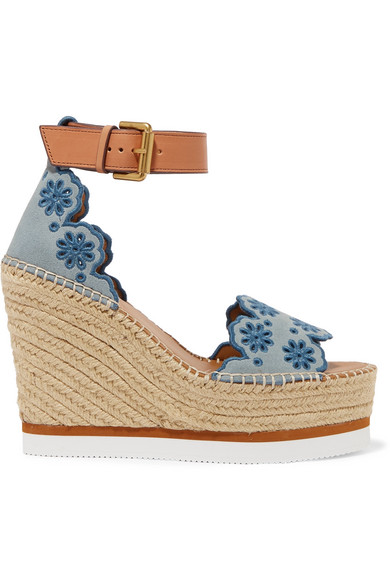 Embroidered Suede And Leather Espadrille Wedge Sandals in Blue