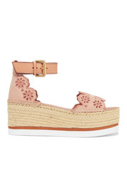 Embroidered laser-cut suede and leather espadrille wedge sandals