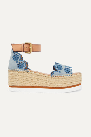 2c857bc18 See By Chloé. Embroidered laser-cut suede and leather espadrille wedge  sandals