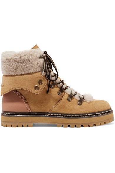 9db165164df Shearling-trimmed suede and leather ankle boots
