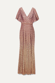 Marchesa Notte Ombré sequined satin embellished gown