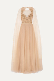Marchesa Notte Cape-effect embellished glittered tulle gown