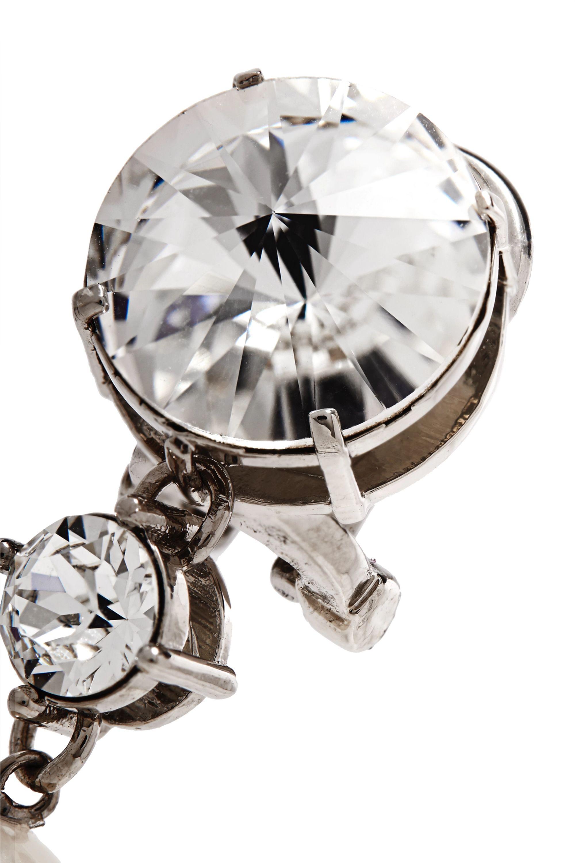 Miu Miu Silver-tone, crystal and faux pearl clip earrings