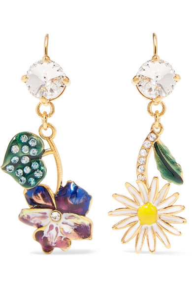 Gold-Tone, Enamel And Crystal Earrings in Purple