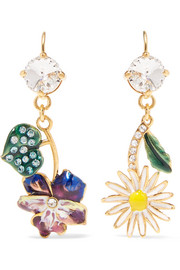 Gold-tone, enamel and crystal earrings