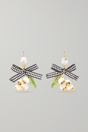 Gold-tone, crystal, enamel and canvas earrings