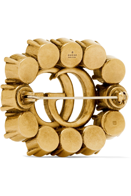 Gucci Gold-tone crystal brooch