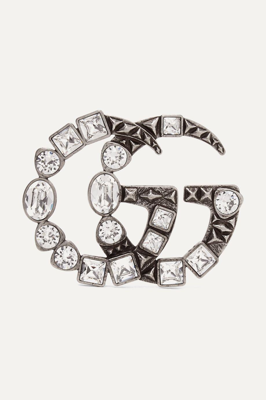 Gucci Silberfarbene Brosche mit Kristallen