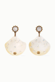 Gucci Gold-tone, pearl and crystal earrings