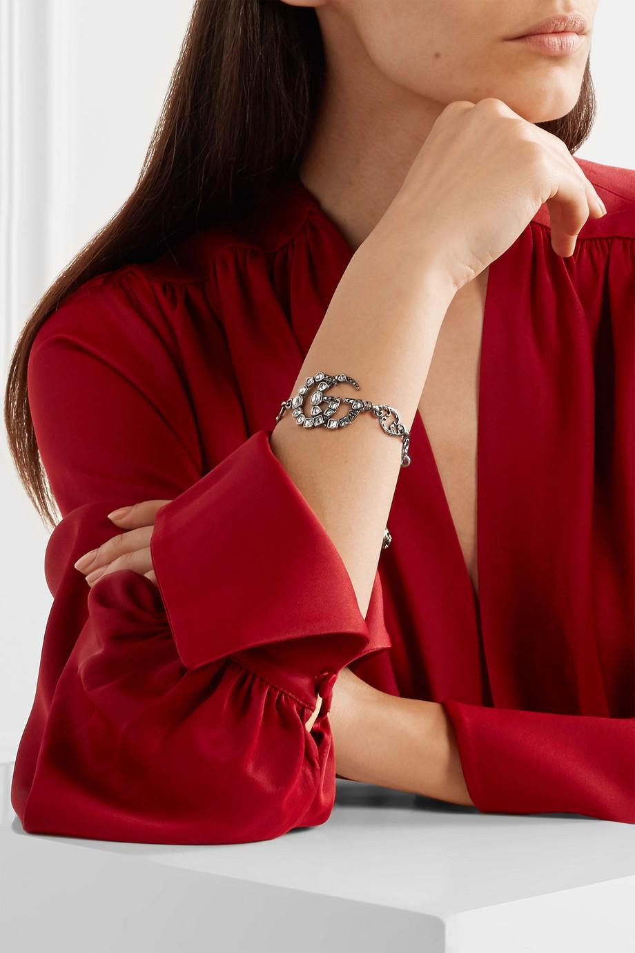 Gucci Oxidized silver-tone crystal bracelet