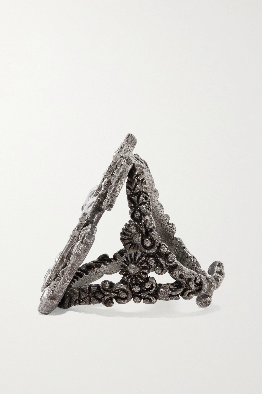 Gucci Silberfarbener Ring mit Kristallen
