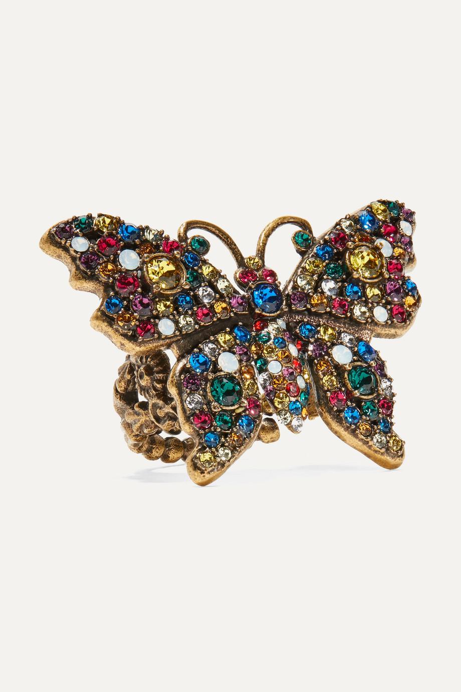 Gucci Goldfarbener Ring mit Kristallen