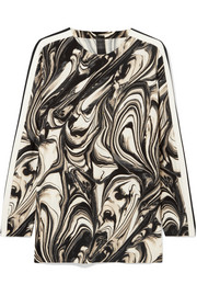 Norma Kamali Marbled stretch-jersey top
