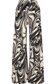 Norma Kamali Elephant marbled stretch-jersey wide-leg pants