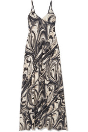 Norma Kamali Printed stretch-jersey maxi dress
