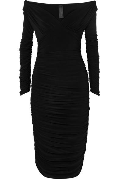Tara Convertible Ruched Stretch Jersey Dress by Norma Kamali