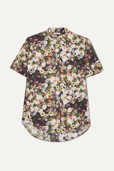 Floral Print High/Low Poplin Shirt in Black