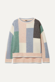 Color-block cashmere and silk-blend sweater