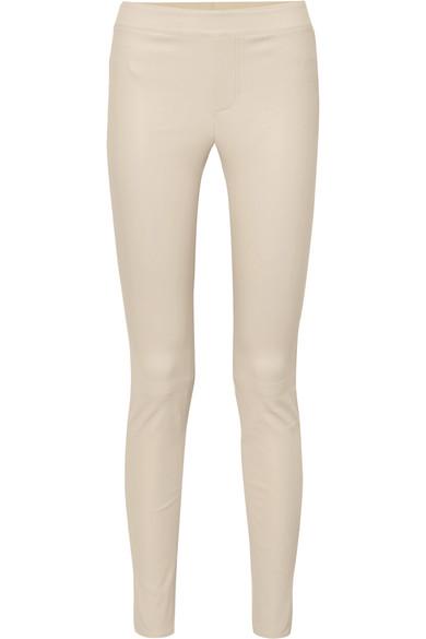 HELMUT LANG | Helmut Lang - Leather Skinny Pants - White | Goxip