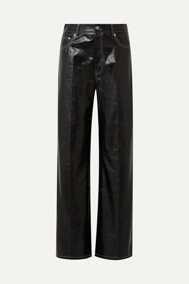 Patent-Leather Straight-Leg Pants in Black