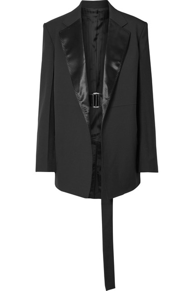 Oversized Satin-Trimmed Wool And Mohair-Blend Blazer in Black