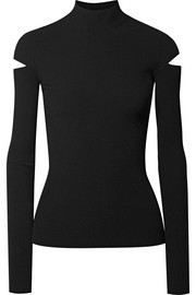Helmut Lang Cutout ribbed-knit turtleneck sweater