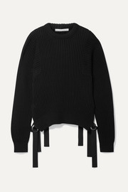 Grosgrain-trimmed ribbed cotton sweater