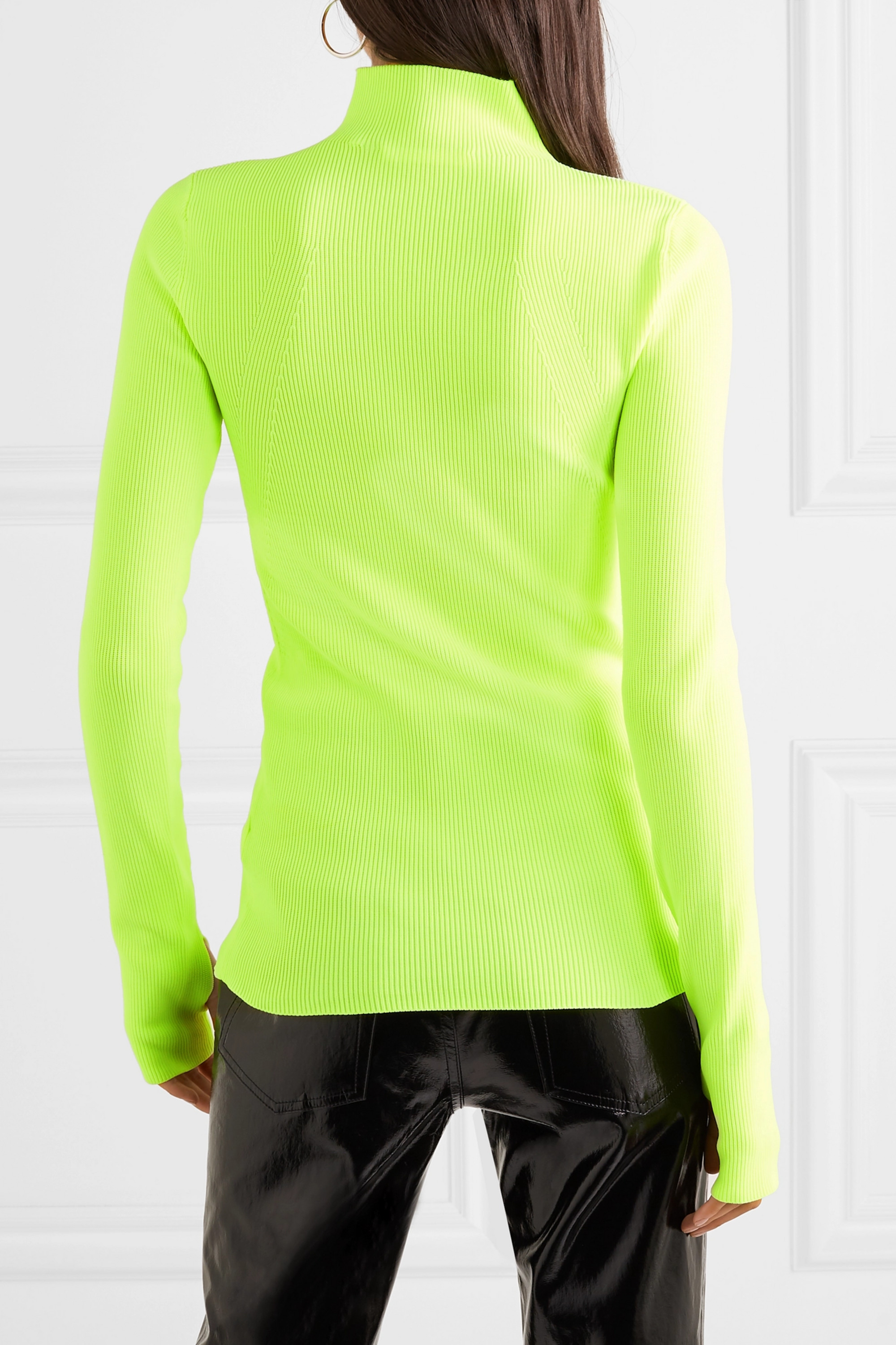 Helmut Lang Neon ribbed cotton turtleneck sweater