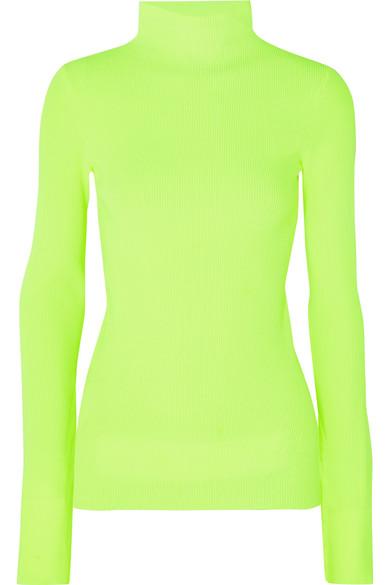 Exact Product: Neon ribbed cotton turtleneck sweater, Brand: Helmut Lang, Available on: net-a-porter.com, Price: $295