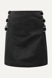Silk-twill trimmed cotton-twill mini skirt