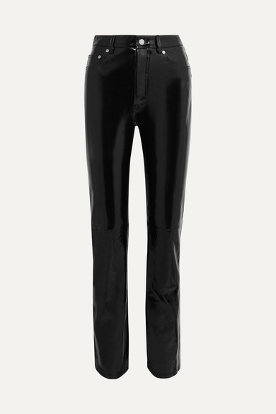HELMUT LANG | Helmut Lang - Patent-leather Straight-leg Pants - Black | Goxip