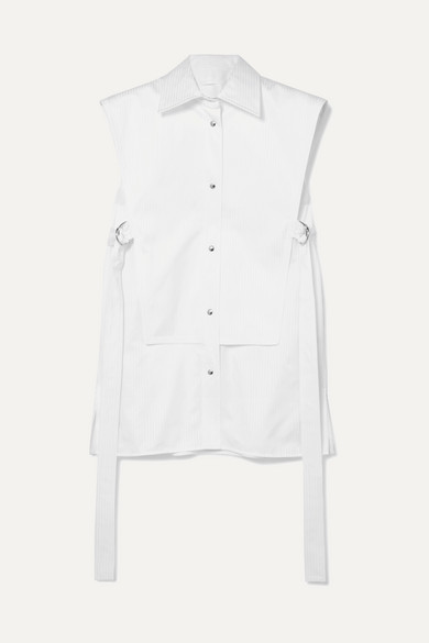 Belted Layered Striped Cotton-Poplin Shirt in White