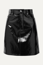 Crinkled patent-leather mini skirt