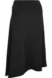 Asymmetric stretch-crepe midi skirt