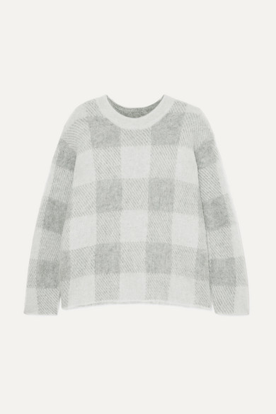 Plaid Crewneck Mohair-Blend Pullover Sweater in Gray