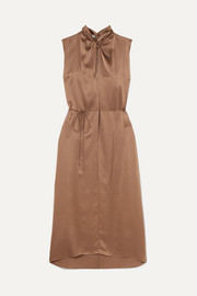 Knotted silk-satin dress