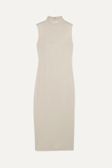 Wool-Blend Sleeveless Turtleneck Long Dress in Gray