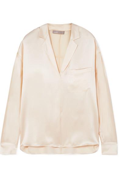 Cream Silk Satin Blouse in White