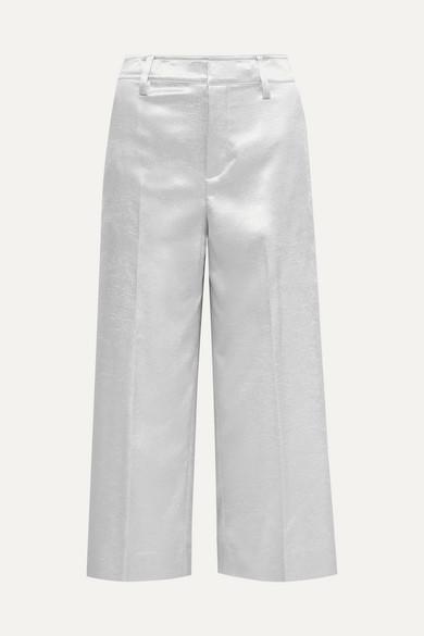 Vince Pants Cropped metallic stretch-shantung wide-leg pants