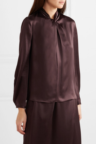 5a303e28e0534 Vince. Knotted silk-satin blouse