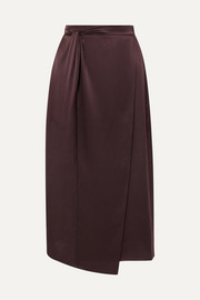 Knotted wrap-effect silk-satin midi skirt