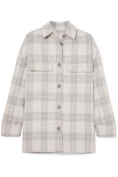Checked Wool-Blend Flannel Jacket in Light Gray