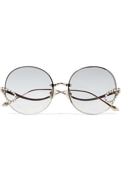 FOR ART'S SAKE Passion Fruit Embellished Round-Frame Stainless Steel Sunglasses in Silver