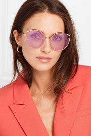 Cat-eye rose gold-tone sunglasses