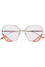 For Art's Sake Icy hexagon-frame stainless steel sunglasses