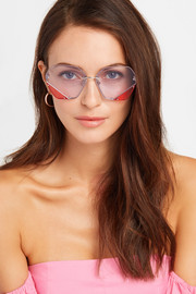 Icy hexagon-frame stainless steel sunglasses