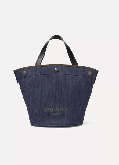 43d2cb82beff Prada | Leather-trimmed printed denim tote | NET-A-PORTER.COM